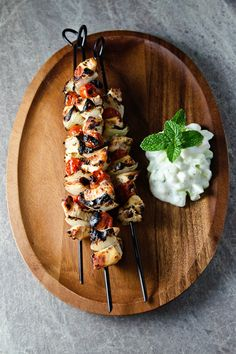 Greek Chicken Kabobs with Fresh Cucumber Sauce