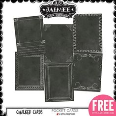 FREE Digital Scrapbooking, Project Life and Digital Pocket Scrapbooking Chalked Life Journal Cards by Just Jaimee