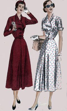 Vintage 40s Vogue 6788 Day Dress with Asymmetrical by sandritocat, $28.00