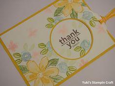 スタンピンアップ ガーデン・イン・ブルーム・スタンプセットとヘイユー・スタンプセットで栞が出てくるThank Youカード! Thank You card with bookmark using Garden in Bloom & Hey You stamp set, Stampin' Up!