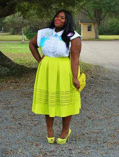 Musings of a Curvy Lady, Plus Size Fashion, Fashion Blogger, Fashion Blog, Women's Fashion, OOTD, ASOS Curve, Eloquii, XOQ, Citron, Midi Skirt