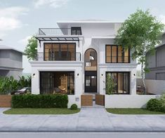 White Exterior Houses, Classic House Exterior, Dream House Exterior, Modern Small House Design, Contemporary House Plans, Design Your Dream House, House Outside Design, House Front Design, House Design Pictures