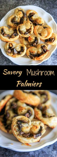Savory Mushroom Palmiers. A savory version of the puff pastry treat that can be served as a delicious appetizer or side. Especially great for holidays or dinner parties! #mushrooms #palmier #appetizer