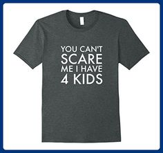 Mens You Can't Scare Me I Have 4 Kids T-Shirt | Funny Fathers Day 2XL Dark Heather - Holiday and seasonal shirts (*Amazon Partner-Link)