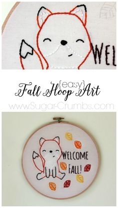 Bring a little fall to your home with this super easy embroidery hoop art! The pattern is free and the project is a breeze!
