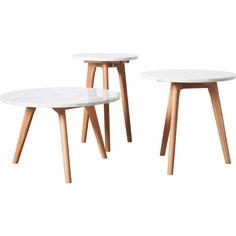 De White Stone tafel van Zuiver is een elegante combinatie van marmer en hout.