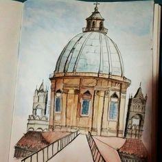 catedral de palermo (Itália) em aquarela. • • • • #watercolor #sketch #art #urbansketch #urban #aquarela #architecture #arquitetura #unipin #drawing #draw #italia #catedral #cattedralledipalermo #arte