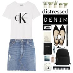 Distressed Denim by sierrrrrra on Polyvore featuring мода, Calvin Klein, GRLFRND, Jimmy Choo, MANGO, Aspinal of London, Aesop, GHD, Korres and Allstate Floral