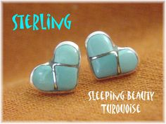 Sleeping Beauty Turquoise  Sterling Silver Zuni Blue Heart