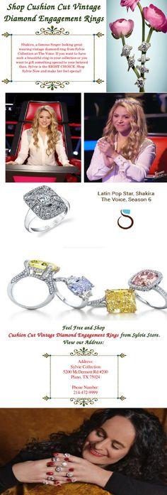 Buy stylish cushion cut #diamondengagementrings at Sylvie Store.