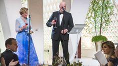 HOLDT TALE: Dronning Sonja og kong Harald holdt felles tale under festmiddagen i Operaen. Foto: Heiko Junge / NTB scanpix