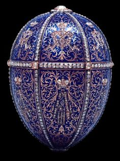 """The supreme expressions of Faberge's art were the fifty-six fabled Imperial Easter eggs which he created for two Russian tsars, Alexander III and Nicholas II.  Alexander began the custom in 1884 when he presented a Faberge egg to his wife, Marie.  After his father's death, Nicholas continued the custom, ordering two eggs each year, one for his wife and one for his mother.""*"