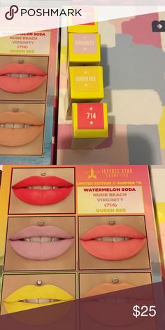 Jeffree star liquid lipstick summer edition PRICE IS FOR 1. Please let me know what color you want before you purchase. Please ask questions before you buy. No returns on makeup. These are all brand new in box. Never tested. Currently available watermelon soda (bright red pink) virginity (lavender) queen bee (yellow) 714 (neon orangy shade) jeffree star Makeup Lipstick