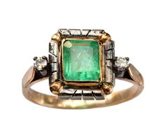 1920-30s Art Deco Emerald and Diamond Ring, Silver and 18K Gold: Erie Basin Antiques