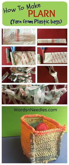 How tomake yarn from plastic to recycle and create crochet items. Craft with plastic bags.