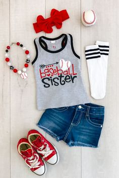 "Gray ""Baseball Sister"" Tank Top from Sparkle in Pink Baseball Sister, Baseball Girls, Softball Mom, Baseball Mom Shirts Ideas, Baseball Outfits, Sister Shirts, Shirts For Girls, Team Mom, Sports Mom"