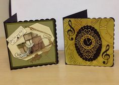 Male cards using the new tattered lace clock...and the new Katy Sue fishing image from her latest Cd
