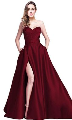 0a2b5d59edec online shopping for Jicjichos Jicjichos Women's Strapless Prom Dresses  Satin High Slit Pocket Long Evening Dress from top store. See new offer for  Jicjichos ...