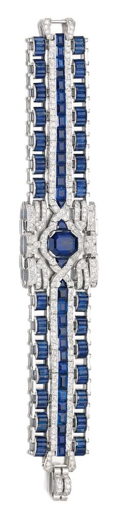 Best Diamond Bracelets  : SAPPHIRE AND DIAMOND BRACELET CIRCA 1965. The wide open work band set at the ce