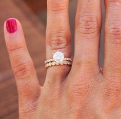 marquise and dot wedding band with solitaire pave ring - Google Search