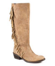 Another great find on #zulily! Tan Fringe Leather Cowboy Boot #zulilyfinds