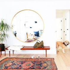 one day I'll have a bright entry like this but in the meantime I recreated three mid century modern  boho living rooms on the blog. come check it out  @tessaneustadt #ontheblog #decor #boho