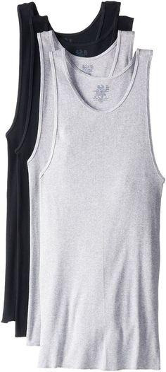 5953410842859 Fruit of the Loom Men Cotton Tank Top A-Shirt Black Gray 3X-Large