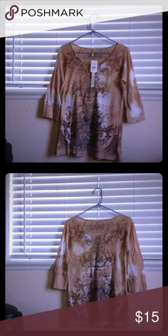 Beautiful oatmeal blouse Never worn blouse in large. Olivia Moon Tops Tees - Long Sleeve