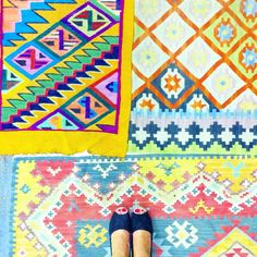 Colored carpets.