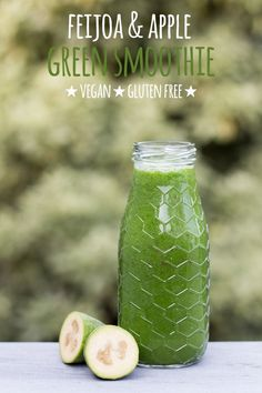 A healthy vitamin C packed green smoothie recipe for the sceptical feijoas are your secret ingredient to green smoothie happiness For more smoothie information, click the link. Green Smoothie Vegan, Vegetarian Smoothies, Healthy Green Smoothies, Apple Smoothies, Green Smoothie Recipes, Breakfast Smoothies, Smoothie Drinks, Vegan Vegetarian, Smoothie Detox