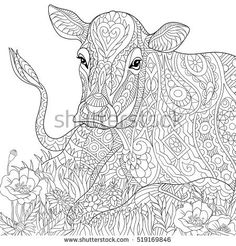 Stylized cartoon grazing cow, isolated on white background. Freehand sketch for adult anti stress coloring book page with doodle and zentangle elements.