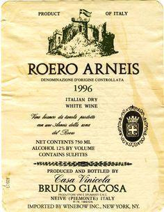 1996 Roero Arneis White Wine - Casa Vinicola Bruno Giacosa
