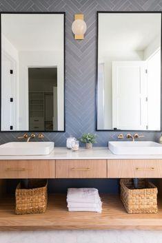 Blue herringbone tile for the bathroom. 3 Tile Trends for 2020 with Cle TileBECKI OWENS Bath Tiles, Bathroom Wall Tiles, Concrete Bathroom, Shower Tiles, Bathroom Faucets, Grey Bathroom Floor, Beach House Bathroom, Bathroom Mirrors, Bathroom Hardware
