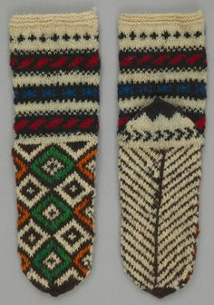 Object Name: Sock Place Made: Asia: West Asia, Turkey Period: Late 20th century Date: 1980 - 1990 Dimensions: L 35cm x W 10.5cm Materials: Wool Techniques: Knitted