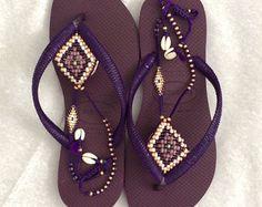 Bohemian Flip Flop Sandals Boho Style Rose Gold Havaianas