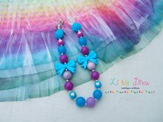 Turquoise & Purple Bow Chunky Bead Necklace by LittleDivaBubblegum, $22.00