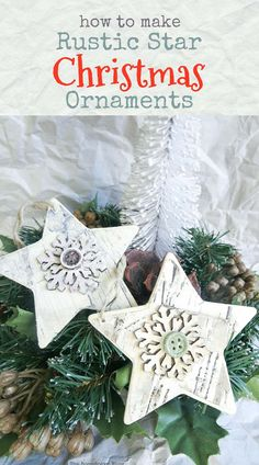 Add a rustic touch to your tree with simple upcycled Christmas ornaments using birch paper and paint! Easy Ornaments, Rustic Christmas Ornaments, Handmade Christmas Decorations, Handmade Christmas Gifts, Handmade Ornaments, Holiday Crafts, Christmas Crafts, Glitter Ornaments, Felt Christmas