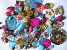 95 Pc Assorted Beads Pendants Jewelry Making Arts Crafts Fuchsia Turquoise Brown #Assorted