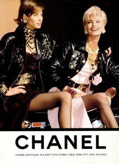 Chanel A/W 1991  Photographer: Karl Lagerfeld  Models: Christy Turlington & Linda Evangelista