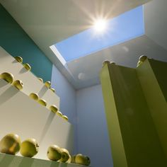 CoeLux Skylights --LED light fixtures that look like real skylights for dark, windowless rooms.