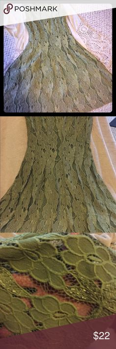 Stunning green eyelet skater dress. This dress is adorably sexy. The olive color is eye catching and the eyelet overlay with the skater style skirt will give you a sassy pep in your step. It's like new only worn twice for weddings. Get it fast. It won't last long altrd state Dresses Midi