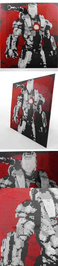 Mosaico de Iron Man hecho con 40,000 piezas. #LEGO #IronMan #mosaic
