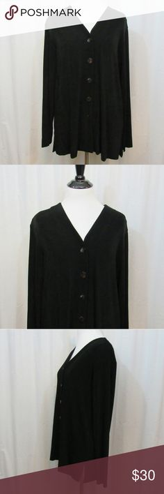"""Chico's Travelers Black Slinky Knit Top 1 M Brand: Chico's Size: 1 Material: 95% Acetate 5% Spandex Care Instructions: Machine Wash  Bust: 42"""" Sleeves: 23"""" Length: 25""""  All clothes are in excellent used condition. No tears, stains or holes unless otherwise I noted.   P73 Chico's Tops"""
