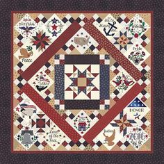 Primitive Gatherings Liberty Gatherings BOM Block of the Month Quilt KIT Plus Pattern 76 x 76 by PrivateSourceQuiltin on Etsy