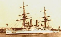"""The USS BOSTON was a Cruiser of the ATLANTA class, the first """"modern"""" United States Navy ships. Long overdue when ordered, these vessels were obsolete upon completion. USS BOSTON was assigned to the United States Asiatic Squadron under Commodore Dewey. She took part in the Battle of Manila Bay on May 1, 1898, and the capture of the city of Manila on August 13th. The cruiser remained in the Philippines, assisting in their pacification, until June 1899. BOSTON returned to San Francisco"""