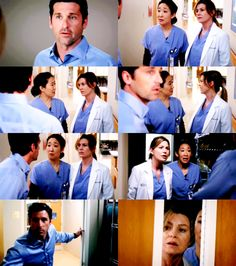"""Grey's Anatomy - Derek: """"There's a shooter loose in the hospital."""" - Cristina: """"What?!""""- Derek: """"Stay here. Don't move. I'll come back and get you when it's clear. Just stay here! Don't move!"""""""