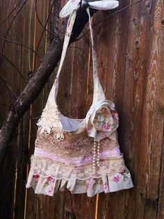 Shabby chic, romantic, farm girl, country chic, cowgirl, ruffle, lace, doilies, pearls, beads, bag, purse