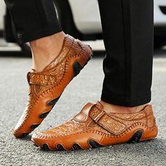 f19029c6cd5d4f Mens Hand Stitching Hook Loop Soft Sole Flat Shoes