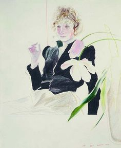 David Hockney, Celia in a Black Dress with White Flowers, 1972