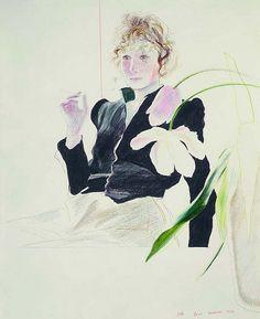 David Hockney, Celia in a Black Dress with White Flowers, 1972